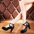 Натуральная кожа женщины на высоких каблуках насосы женщина ОЛ УДОБНЫЕ черные ботинки работы 32 33 40 41 42 43 44 sy-777