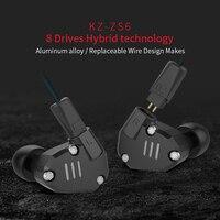 100% עיצוב חדש KZ ZS6 2DD קופסא מקורית + 2BA נייד HIFI סטריאו בידוד רעש אוזניות צג אוזניות עם מיקרופון טלפון אוזניות