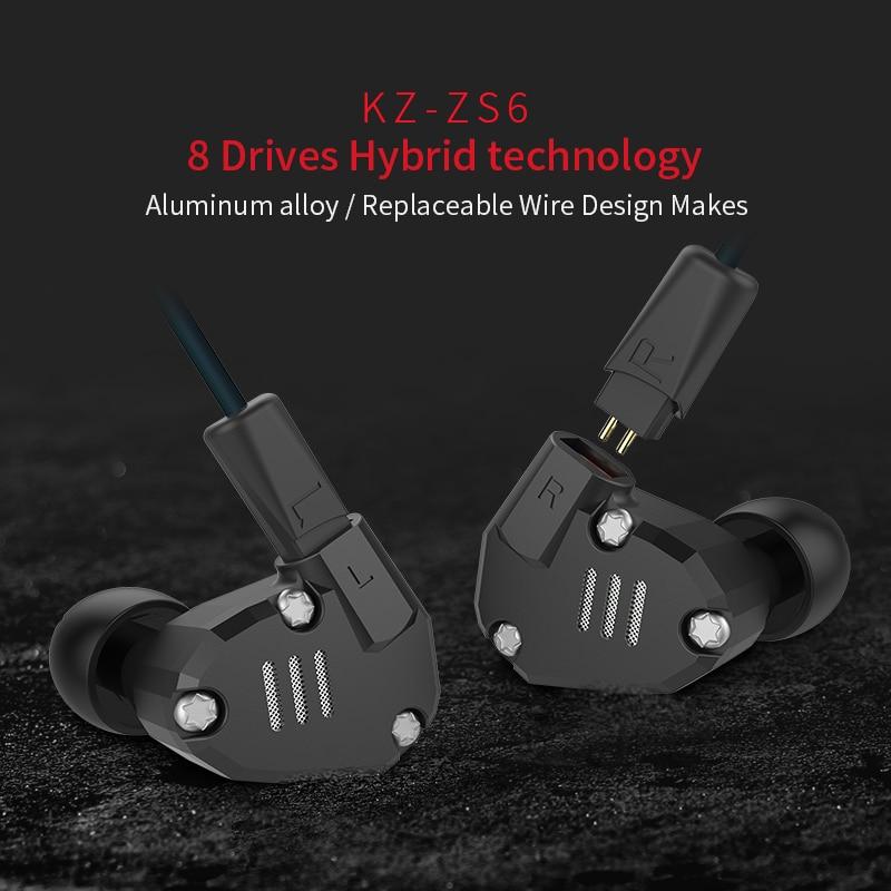 100% Nouveau Design KZ ZS6 boîte D'origine 2DD + 2BA Écouteurs HIFI Isolation Du Bruit Stéréo Moniteur Casque avec mic Mobile téléphone écouteurs