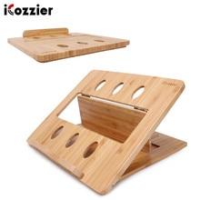 ICozzier бамбуковая Складная подставка для ноутбука, регулируемая подставка для ноутбука, компьютера, планшета, стола, кровати, крепление для отвода тепла для нетбука