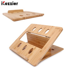 iCozzier Bamboo Foldable Laptop Stand Holder Adjustable Notebook Computer Tablet Desk Bed Heat Dissipation Mount for Netbook