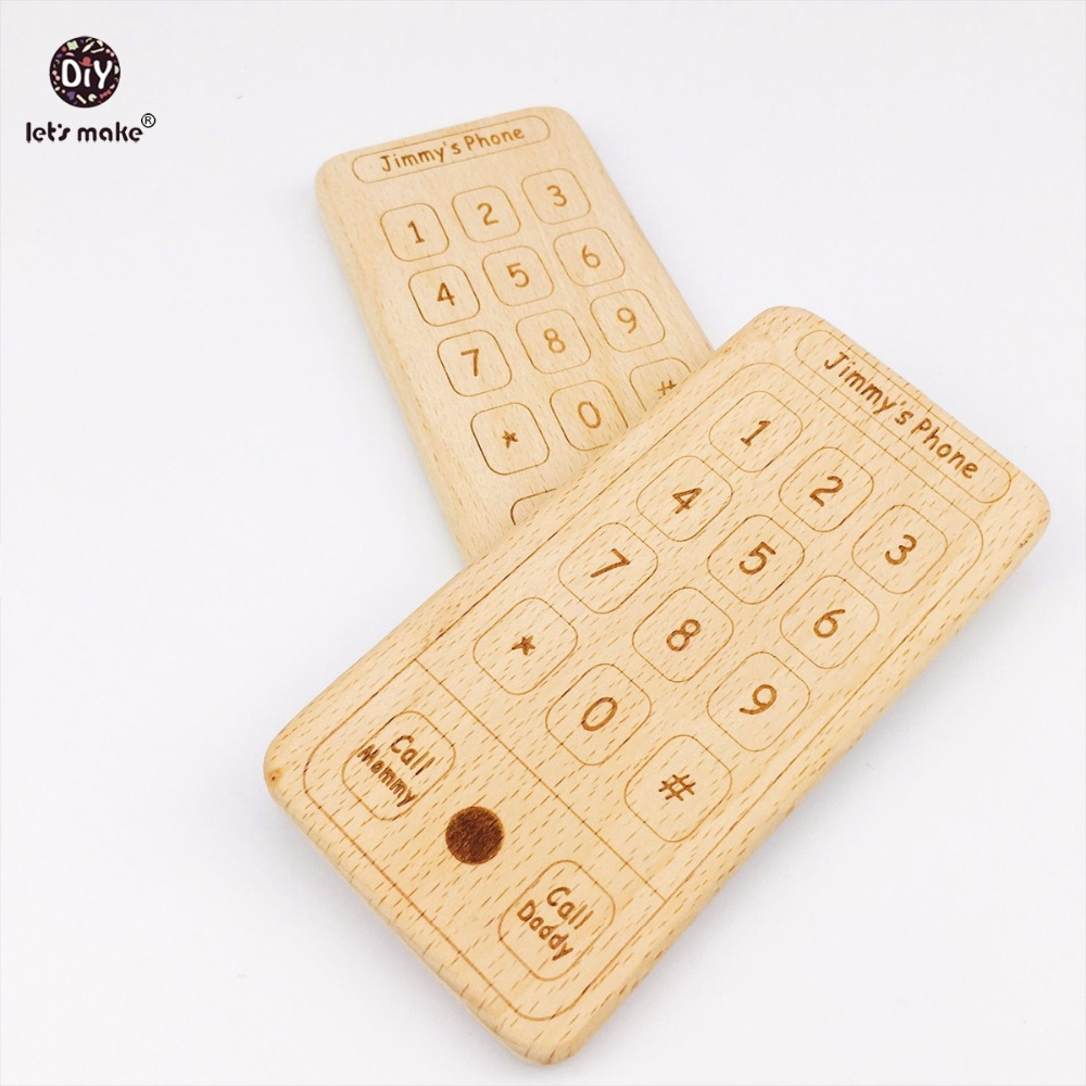 Lets Make Baby Toys Beech Wooden Mobile Phone 5pcs Baby Shower Gift Montessori Toys Wood Teether Sensory Baby Gym Toys Teether