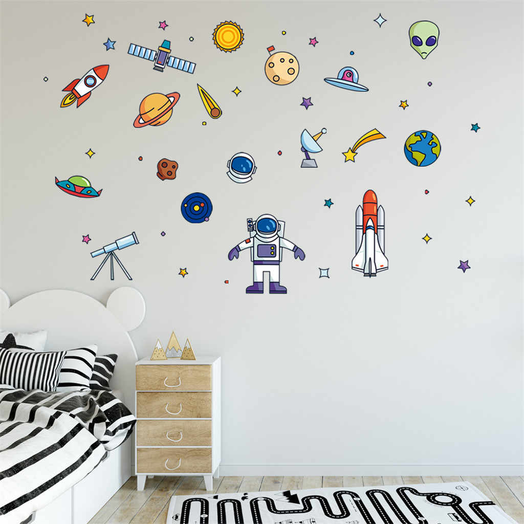SPACESHIPS WALL STICKERS pack boys bedroom decal art space rockets