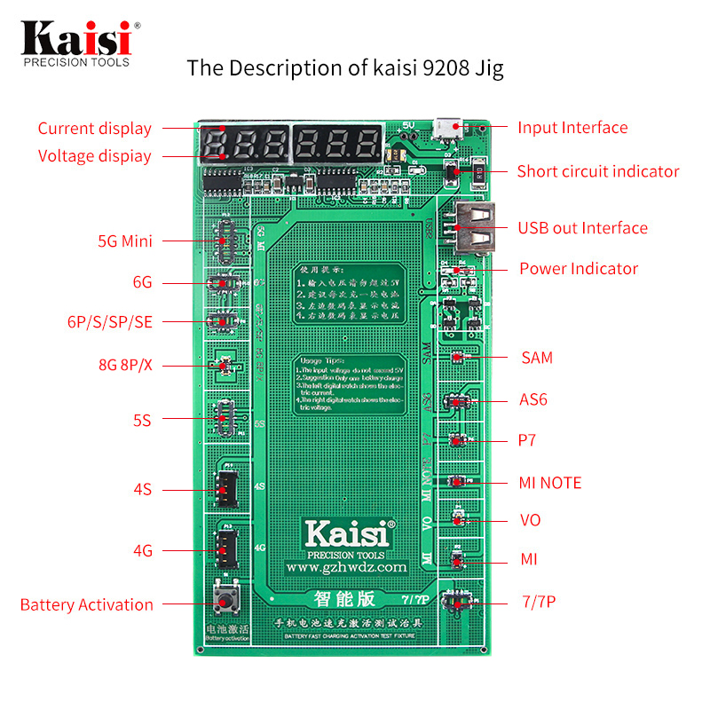 Kaisi Phone Battery Activation Board Plate Charging USB Cable Jig For iPhone 4 -8X VIVO Huawei Samsung xiaomi Circuit Test battery activation charge pcb board micro usb cable mobile phone repair tool for ipad ipad samsung xiaomi circuit test