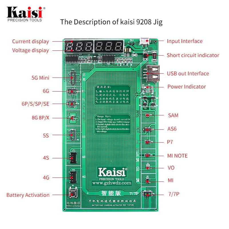 Plaque de carte d'activation de batterie de téléphone de Kaisi chargeant le gabarit de câble d'usb pour l'iphone 4-8X VIVO Huawei Samsung xiaomi Circuit d'essai