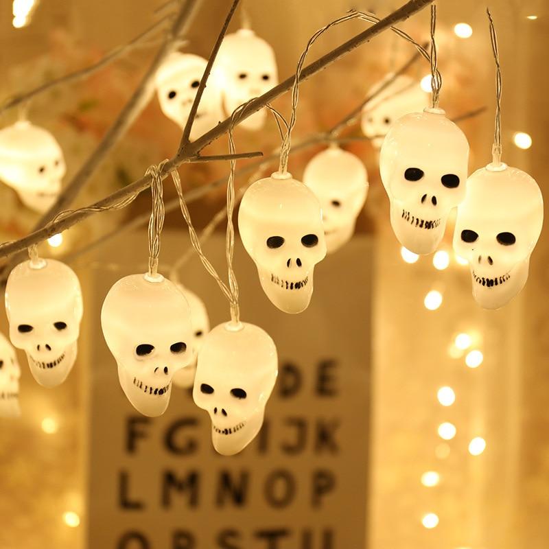 Feimefeiyou 5M 20 LED Skull Light String EU /US Plug Halloween DIY Garden Yard Decorative Fairy Lights String