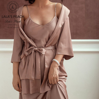 Lala's Peach women's robes silk nightgown solid color night dress Bath Robes cape with bind Tops sleepwear female bath clothes