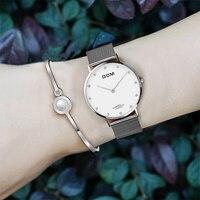 Lady Waterproof Watch Stainless Steel Quartz Watch Woman Fashion Diamond Fashion Bracelet Watch DOM Brand Student