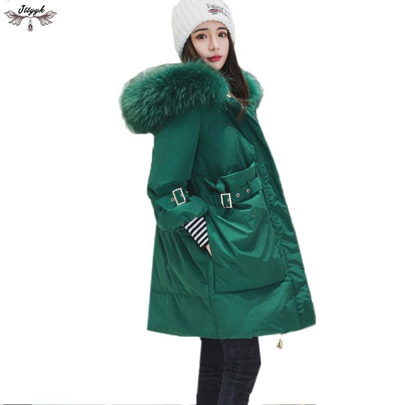 2018 Winter Women 90% duck down jacket winter Long Down coat large real raccoon fur Hooded Parka Coats Female warm Jacket LJ503