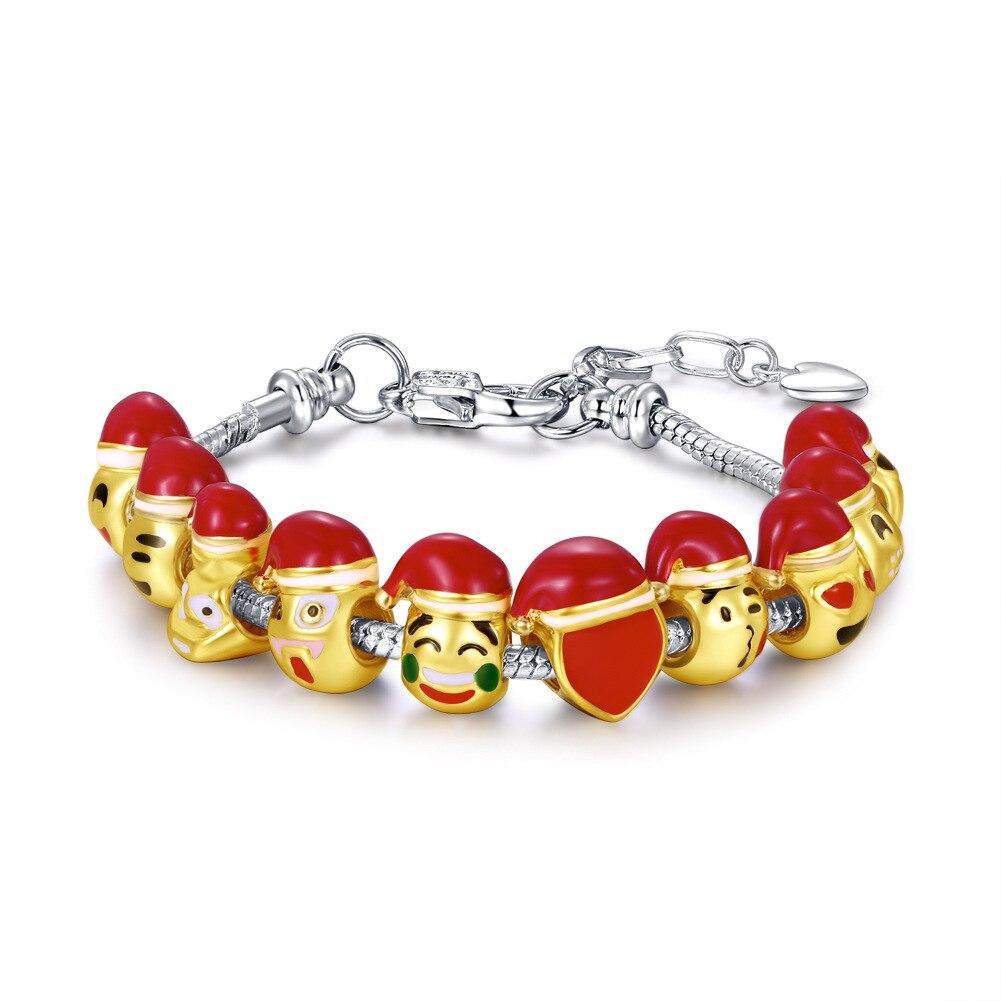 Christmas Expression Bracelet for Girl Women Golden Cartoon 10 Smiling Face Environmental Protection Emoji 20+4cm Extred