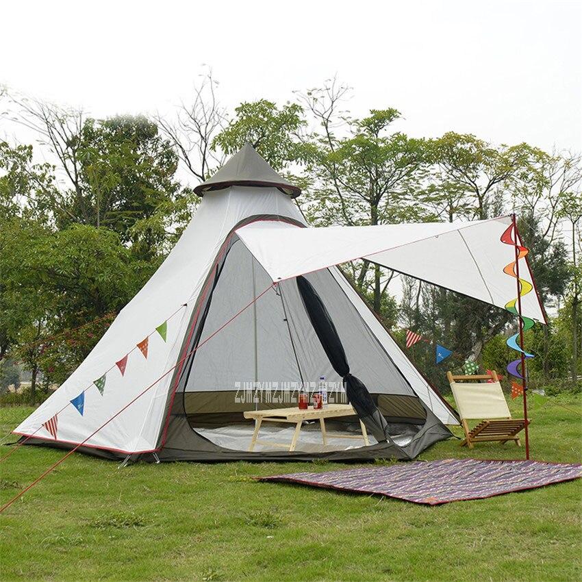 Tente de Camping en plein air tente de plage de yourte mongole Anti-moustique Tabernacle Double couche en plein air randonnée Lodge 4-6 personnes tipi