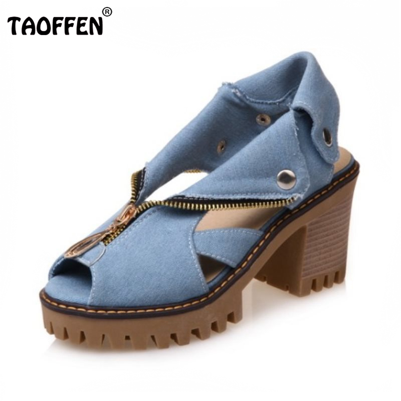 TAOFFEN Size 34-43 Denim High Heel Sandals Women Zipper Platform Sandals Summer Shoes Woman Slip On Shoes For Women Footwear fujin brand 2018 summer shoes for women platform sandals with high heel lady leather shoes footwear pink leather slip on sandals