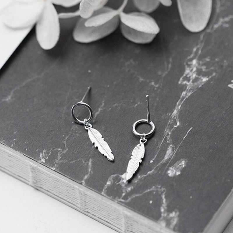DreamySky Pure 925 Стерлинговое серебро перо серьги для женщин девочек Рождественский подарок Brincos Pendientes Прямая доставка