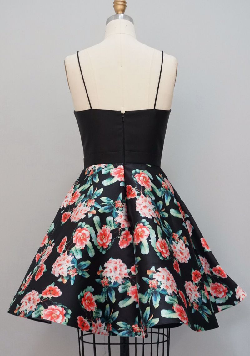 4597f10ab59 Lewande A Line Spaghetti Strap Floral Print Sweetheart Short Homecoming  Dress Cute Pattern Cocktail Skirt Bridesmaid Dresses-in Bridesmaid Dresses  from ...