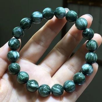 Genuine Natural Green Seraphinite Bracelets Women Crystal Stretch Fashion 10mm Round Bead Bracelet AAAAA Drop Shipping
