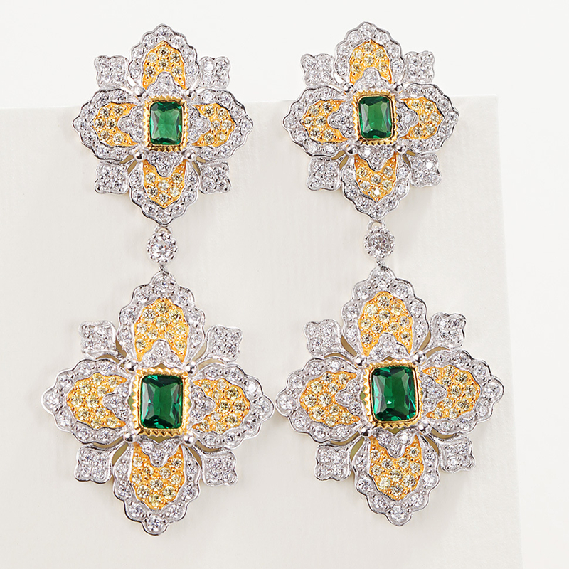 Cmajor S925 Sterling Silver Jewelry Petal Luxury Palace Rigato Engraved Emeralds Color Stone Drop Earrings Gift For Women StockCmajor S925 Sterling Silver Jewelry Petal Luxury Palace Rigato Engraved Emeralds Color Stone Drop Earrings Gift For Women Stock