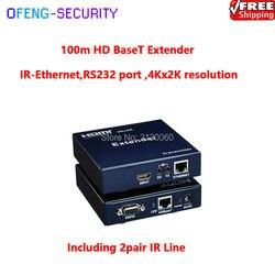 Hd baset  cat6 100 m  HDMI over CAT6  100m Extender z ir-ethernet  port RS232  rozdzielczość 4K x 2K