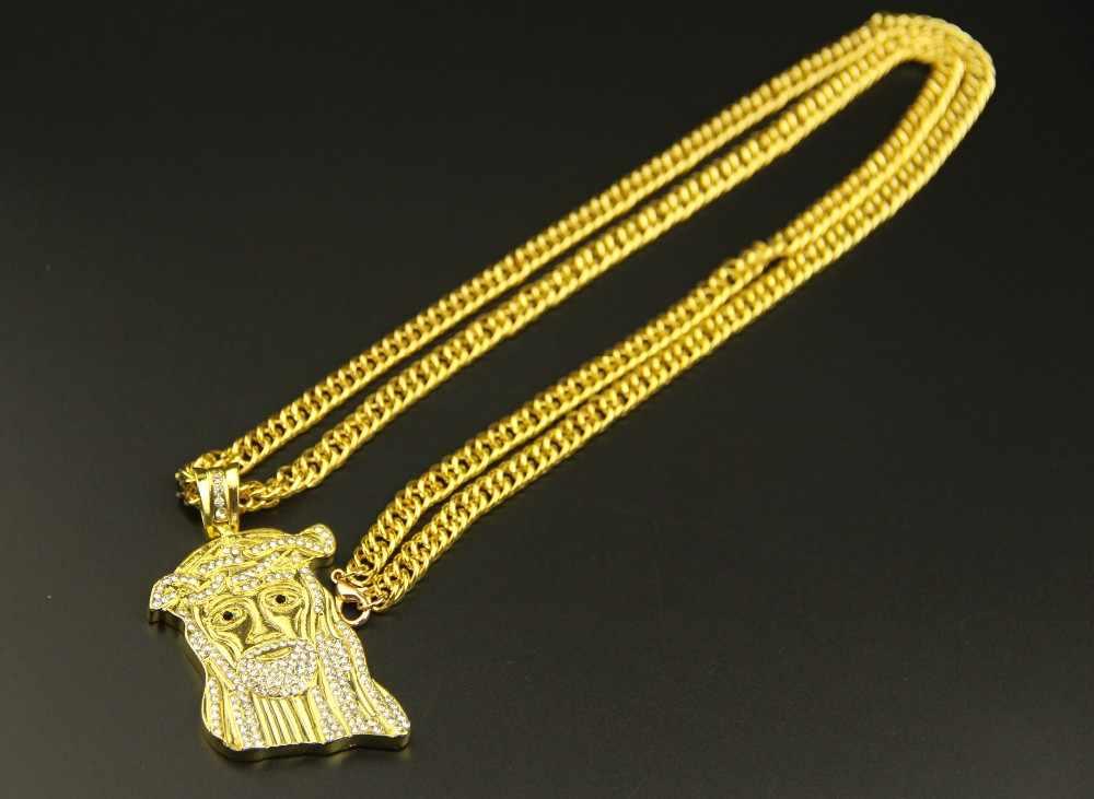ZRM 10 unids/lote venta al por mayor joyería de moda hip hop encanto Jesucristo pieza cabeza colgante collar