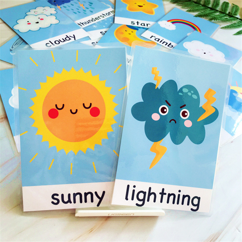 15Pcs/Set Baby Learning Word Cards Game Weather Waterproof English Flash Cards Early Education Teacher Classroom Teaching Aid