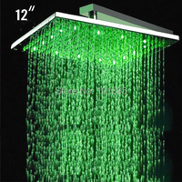 X15261 12 Inch Brass Material Square Rainfall Led Head Shower