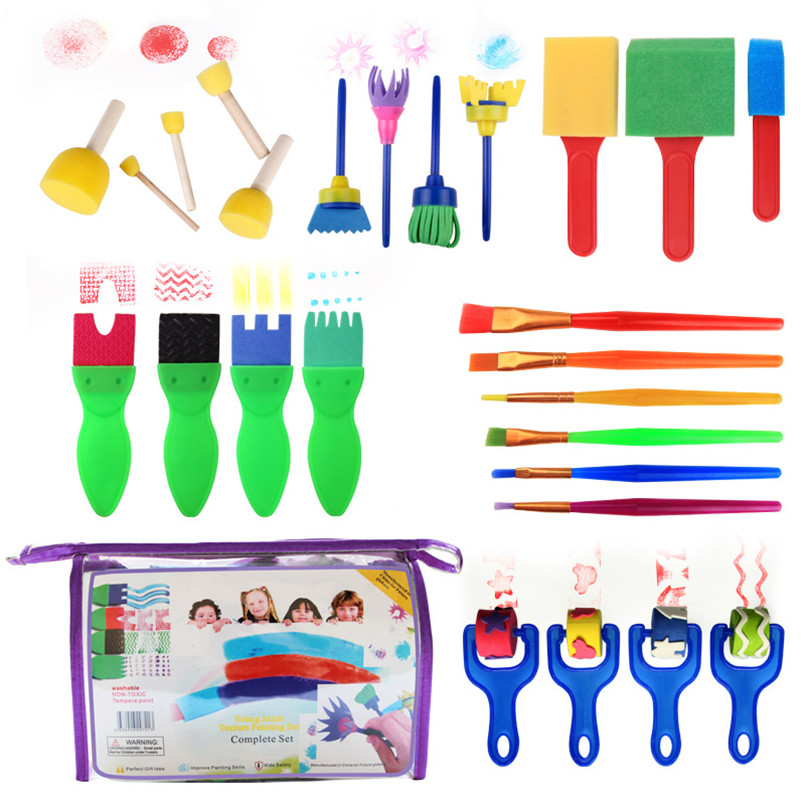 26pcs/set Drawing Brushes Tool Set Rotate Spin Art Paint Toy Plastic Sponge Graffiti Roller Brush Learning Toys For Children Kit