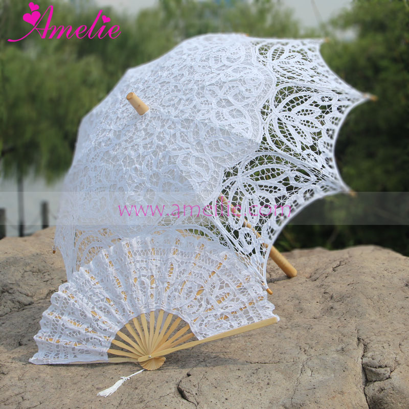 Factory Sell 2017 Amelie Wedding Lace Parasol Bride Umbrella with Wedding Lace Hand Fan for Party