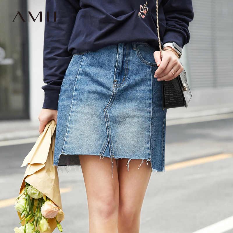 Minimalista Amii Negou Saias Mulheres 2019 Streetwear Causal Asymmetric Patchwork 100% Algodão Mini Saias