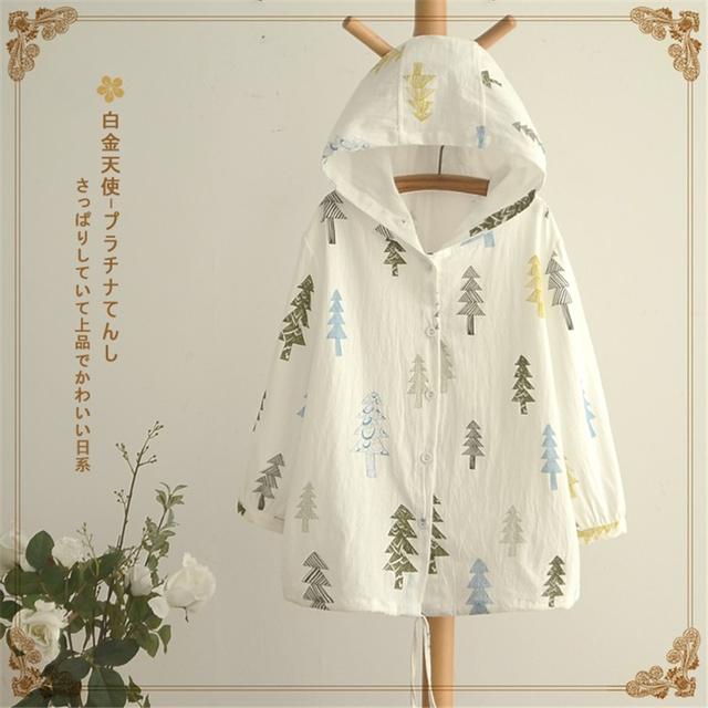 Primavera Outono Novas mulheres Jaquetas Bonito Estilo Japonês Mori Menina impressão Casaco Capa com capuz Único breasted Solto ocasional Outerwear fina
