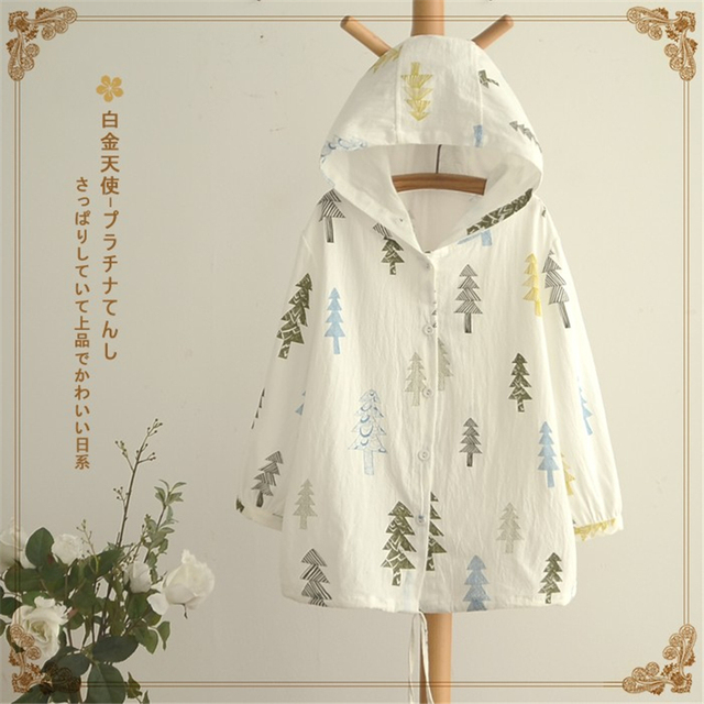 Spring Autumn New women Jackets Cute Japanese Style Mori Girl print hooded Cape Coat Single breasted Loose casual thin Outerwear
