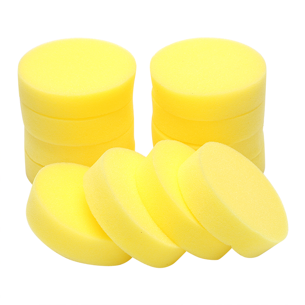 12PCS/Set Auto Care Polish Sponge Cleaning Tools Car Body Glass Wash Sponge Washer Applicator Pads Car Wax Foam Sponges Round