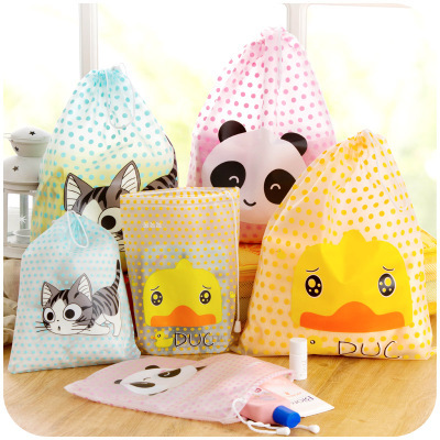 1PCS Women and girl Cartoon Cute Travel Cosmetic Bag Makeup Bag Waterproof Pouch Toiletry Storage Organizer Wash String Case color block panel pouch design string t back