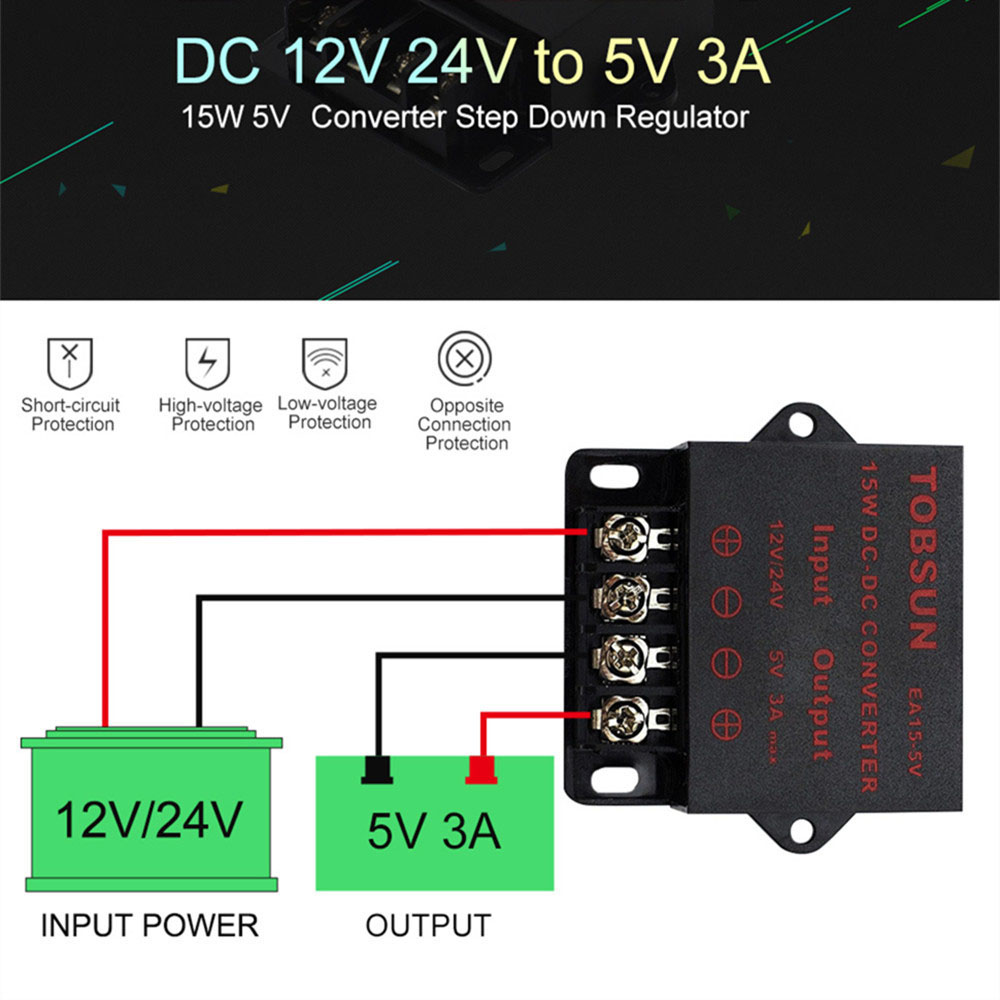<font><b>DC</b></font> <font><b>12V</b></font> 24V to <font><b>DC</b></font> <font><b>5V</b></font> <font><b>3A</b></font> 15W Transformer Converter Step Down Buck Module Voltage Regulator Switch Power Supply for LED TV Solar image