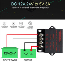 12V 24V to 5V 3A 15W Step Down Buck Module DC DC Converter Transformer Voltage Regulator Power Supply for LED Car TV Security 150w buck power supply module dc 12v 24v to 5v 30a step down converter car adapter voltage regulator driver module waterproof