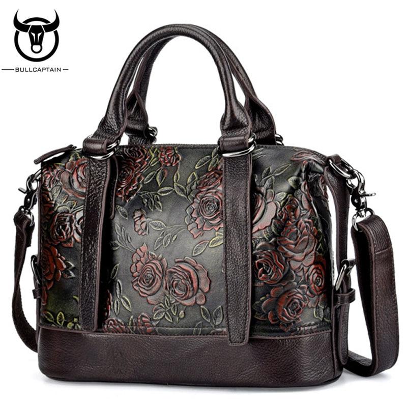 BULLCAPTAIN Hot Sale Women Genuine Leather Shoulder Messenger Top Handle Bags Vintage Embossed Rose Pattern Ladies Handbags Bag plus size cold shoulder rose pattern top