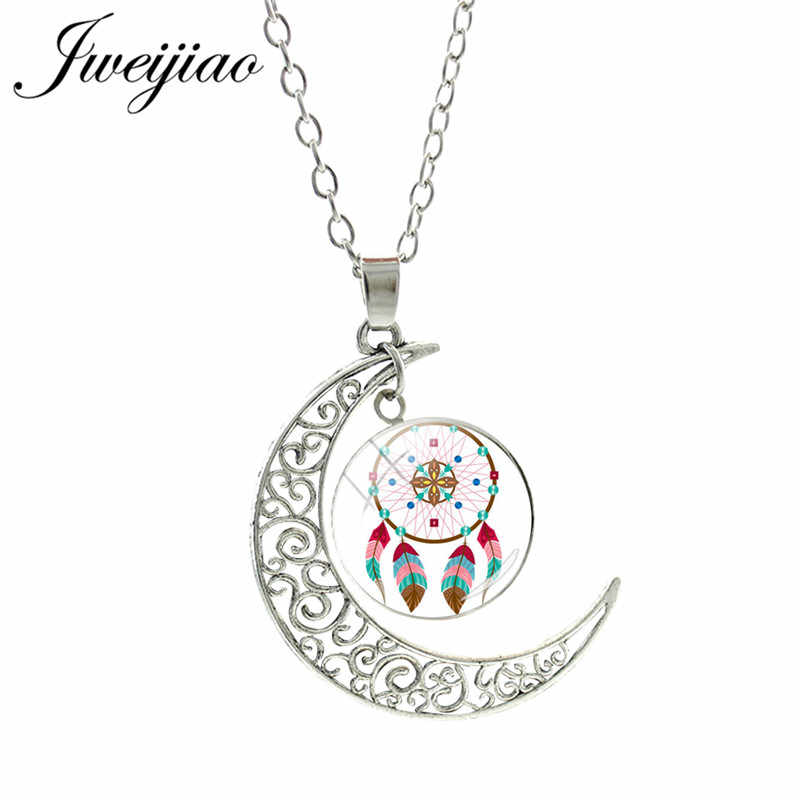 JWEIJIAO Trendy Dreamcatcher Moon Pendant Necklace Colorful feather Glass Cabochon Dream Catcher Necklace Charm Jewelry DH48