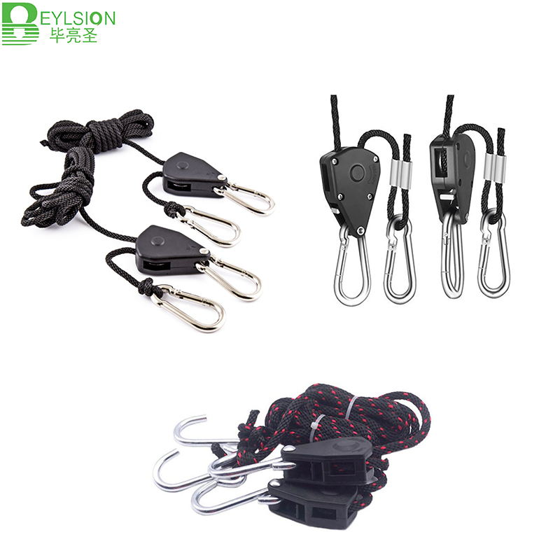 BEYLSION Rope Ratchet Yoyo Lamp Hangers 1/8 Inch 1/4 Inch Ratchet Light Hangers Reflector Lifters For Led Grow Light Tent Lamp