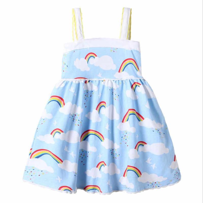 Kız Elbise Gökkuşağı Bulut Baskı Yaz Bebek Kız Kolsuz Elbise Pamuk Çocuk Giyim Moda Bebek Kız için rop
