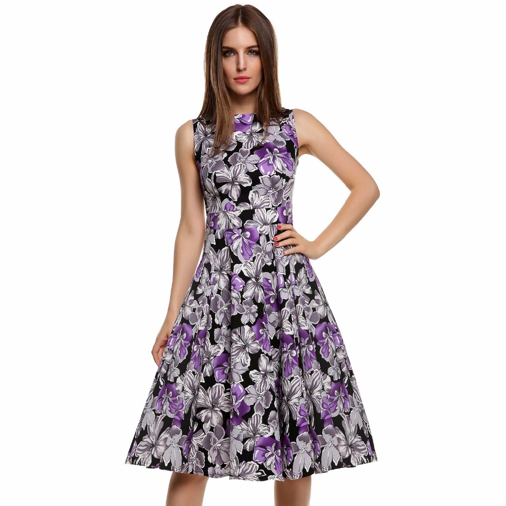 Top Belle Poque Womens Summer Dress 2017 Floral Retro Vintage 50s Casual Party Robe Rockabilly Dresses Plus Size Vestidos mujer