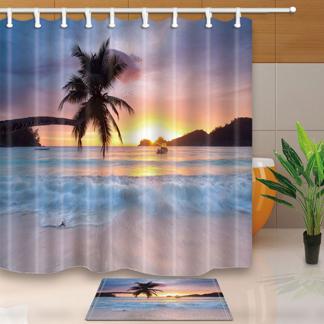 Seascape Shower Curtain Palm Tree Sunset Bathroom Curtains Waterproof Mildew Proof Polyester Fabric For With