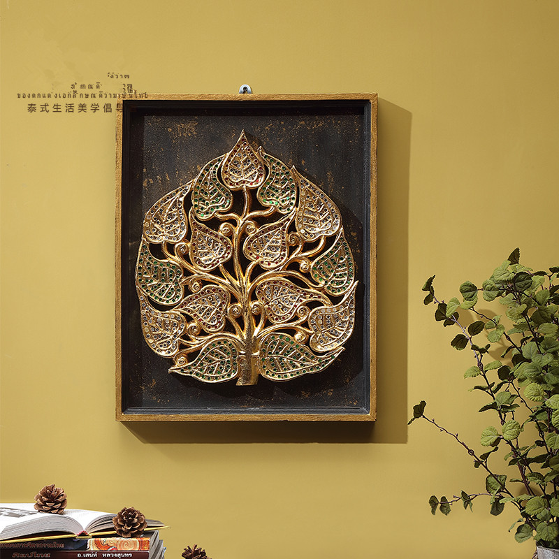 Country Linden handmade wood carving gold foil southeast Asian style ...