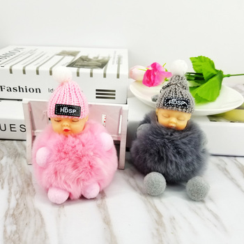 Baby Fluffy Ball Keychain Pom Poms Ball Key Chains Decorative Pendants for Women Kids Bags Car Key Accessories Wedding Gifts