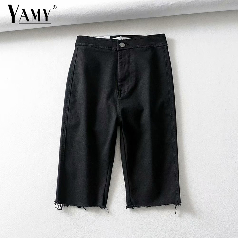 Summer Fringe Denim Shorts Women High Waist Biker Short Jeans Vintage Black Hot Cotton Ladies Shorts 2019 Fashion Clothes