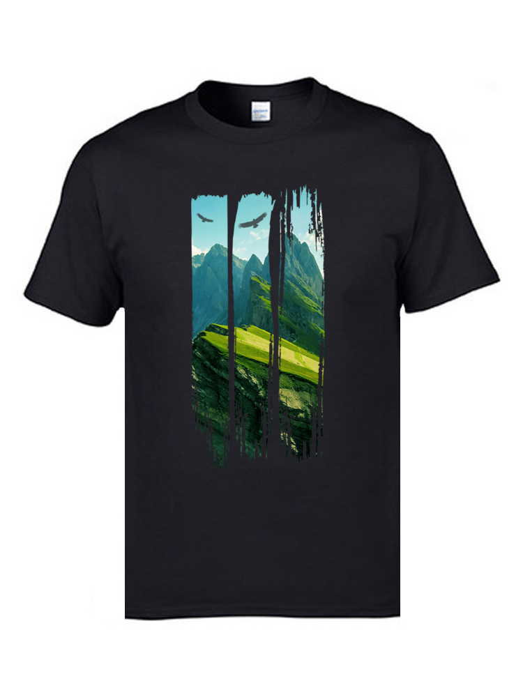 Cheapest  Great T Shirts High Quality Pure Cotton Tee Shirts Natura Mountain Peak Massif Landscape T-Shirt Father Tshirts 3XL