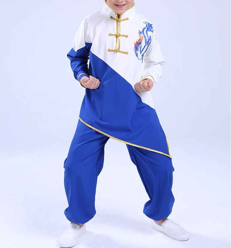 Baru Berkualitas Tinggi Unisex Anak-anak Bordir Naga Kung Fu Wushu Pakaian Anak Seni Bela Diri Seragam Tai Chi Cocok