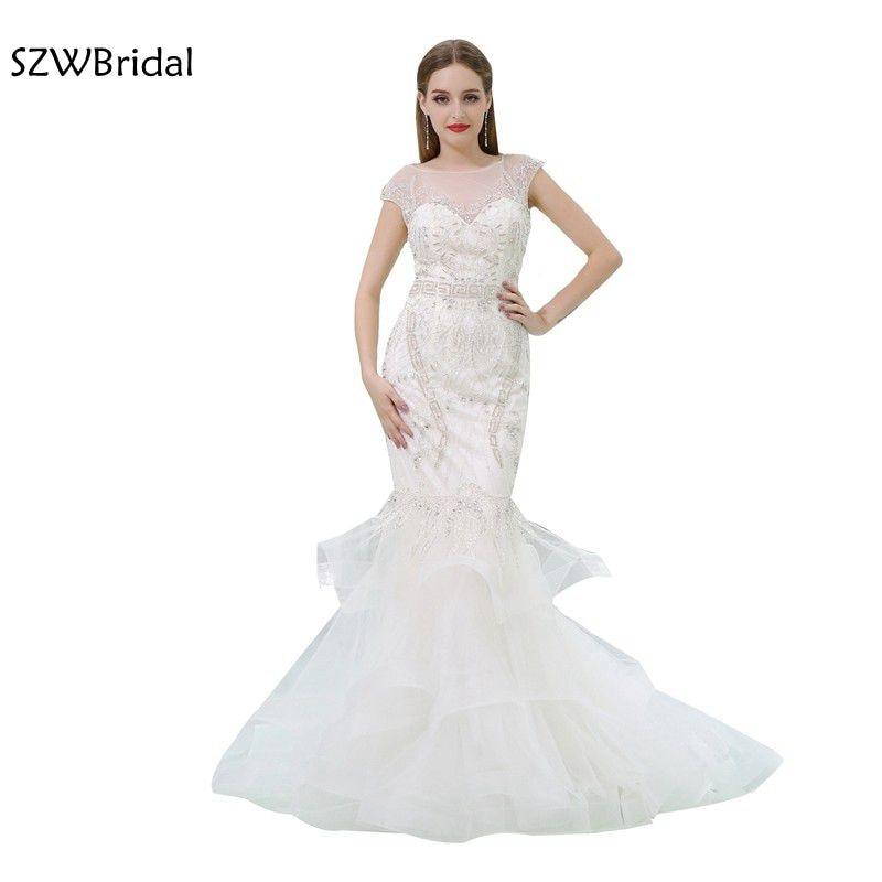 Fashion Real picture Organza Mermaid   Evening     dresses   2019 Hand Beading Backless Formal   dresses   Kaftan vestidos de festa