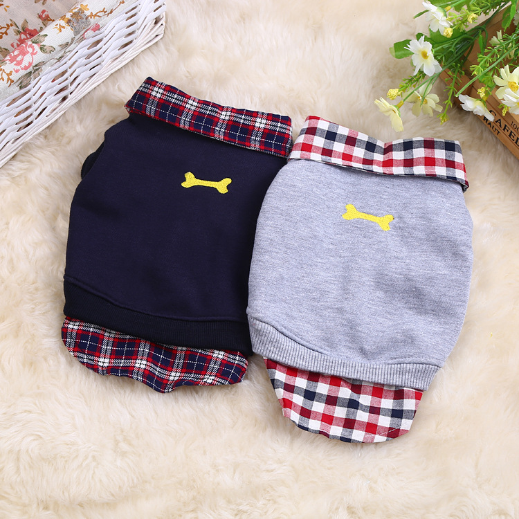 2018 autumn and winter models pet dog clothes Teddy puppy cotton plaid POLO shirt warm dog sweater Teddy French bulldog