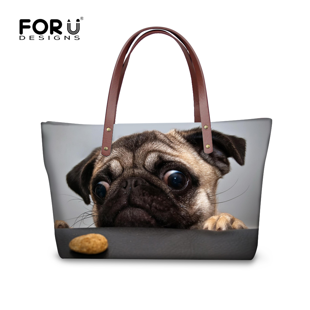 FORUDESIGNS Cute Pug Cats Printing Women Handbags Fashion Style Large Capacity Female Shoulder Bags Tote Bag Lady Messenger Bags forudesigns women handbags large capacity messenger bags cute emoji print ladies top handle bag casual student girls beach bag