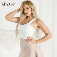 White Crop Top Summer Tops For Women 2019 New Arrivals Fashion Sleeveless Sexy Bandage Bodycon Tops Celebrity Ladies Top Cropped