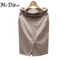 Woman Summer Pencil Skirts Ladies Formal Business Suit Knee Length OL Woman Formal Skirts With Belt