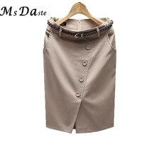 אישה קיץ גבירותיי חצאיות עיפרון חצאיות פורמליות אישה חליפת עסקים פורמלי OL אורך הברך עם חגורה S-3XXXL Femme Saia